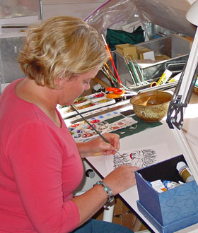 Kelly in her studio